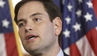 FILE - In this Jan. 8, 2014 file photo, Sen. Marco Rubio, R-Fla. speaks on Capitol Hill in Washington. The potential 2016 Republican presidential candidate has abandoned a sweeping Senate bill he helped write. (AP Photo/J. Scott Applewhite, File)