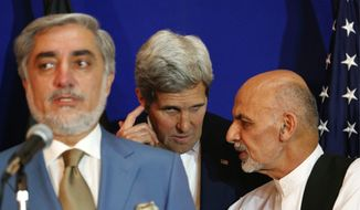 Secretary of State John F. Kerry is trying to broker a power-sharing deal between Afghan presidential candidates Abdullah Abdullah (left) and Ashraf Ghani (right). The U.S. is spending billions of dollars to rebuild Afghanistan, which is considered one of the most corrupt countries in the world. Additional U.S. dollars could be wasted through poor planning and the influence of drug trafficking. (Associated Press)