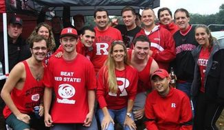 Rutgers University has apologized for shirts that some fans wore to the school's football game against Penn State that referenced convicted serial child molester Jerry Sandusky. (Twitter/MikePettigano)