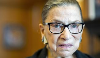 Associate Justice Ruth Bader Ginsburg in her Supreme Court chambers in Washington. (AP Photo/Cliff Owen, File)