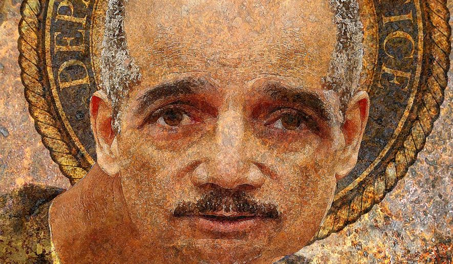 Illustration of Eric Holder and the corruption of the Justice Department by Alexander Hunter/The Washington Times