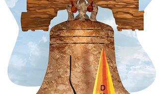 Liberty Bell Dunce Cap Illustration by Greg Groesch/The Washington Times