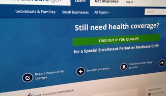 This Monday, Sept. 15, 2014, photo shows part of the HealthCare,gov website in Washington. Nonpartisan congressional investigators say the website has significant security weaknesses that could put Americans' personal information at risk. The Government Accountability Office said Tuesday, Sept. 16, that the Obama administration must resolve more than 20 specific security issues related to who can get into the online system, who can make changes in it and what to do in case the complex network fails.(AP Photo/Jon Elswick)