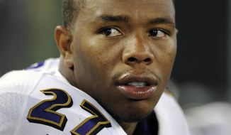 FILE - In this Aug. 7, 2014, file photo, Baltimore Ravens running back Ray Rice sits on the sideline in the first half of an NFL preseason football game against the San Francisco 49ers in Baltimore. The NFL players' union has appealed the league's indefinite suspension of Ray Rice, Tuesday, Sept. 16, 2014.(AP Photo/Nick Wass, File)