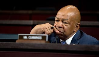 House Select Committee on Benghazi ranking member Elijah Cummings, D-Md., pauses as he speaks on Capitol Hill in Washington, Wednesday, Sept. 17, 2014, during a House Select Committee on Benghazi hearing on the implementation of the Accountability Review Board recommendations. (AP Photo/Carolyn Kaster)