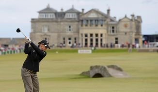 Sweden's Annika Sorenstam tees off from the 18th during a Pro Am event ahead of the Women's British Open golf tournament at the Old Course at the Royal and Ancient Golf Club in St Andrews, Scotland, in this Wednesday, Aug. 1, 2007, file photo. (AP Photo/Matt Dunham, File)