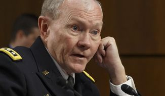 In this Tuesday, Sept. 16, 2014 photo, Army Gen. Martin Dempsey, chairman of the Joint Chiefs of Staff, appeared before the Senate Armed Services Committee, on Capitol Hill in Washington.  Speaking to a small group of reporters after meeting with his French counterpart on Thursday, Sept. 18, 2014 in Paris, Dempsey said it will take three or four months to begin the $500 million training program, which the House approved on Wednesday and sent to the Senate, where members of both parties predicted easy passage.   (AP Photo/J. Scott Applewhite)