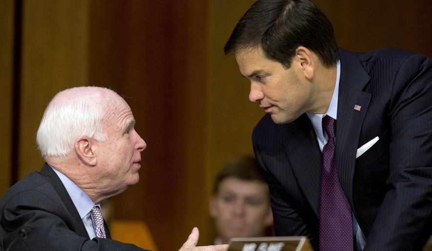 Sen. John McCain (left) and Sen. Marco Rubio said President Trump should have pressed Saudi Arabia harder on human rights. (Associated Press/File)