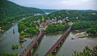 The debate over the exact location of the Virginia-Maryland border was born out of a dispute between Potomac Shores, a corporation that owns land along the Potomac River in Maryland, and rafting companies that run river tours out of an area near Harpers Ferry in West Virginia, where the three states meet. (ASSOCIATED PRESS)
