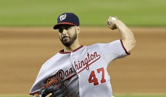 Washington Nationals' Gio Gonzalez pitches against the Miami Marlins in the seventh inning of a baseball game in Miami, Thursday, Sept. 18, 2014. The Nationals won 6-2. (AP Photo/Alan Diaz)