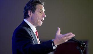 New York Gov. Andrew Cuomo speaks during the annual meeting of the Business Council of New York State at the Sagamore Resort on Friday, Sept. 19, 2014, in Bolton Landing, N.Y. (AP Photo/Mike Groll)