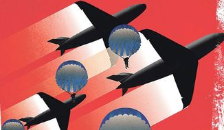 Illustration on the need for ground troops by Linas Garsys/The Washington Times