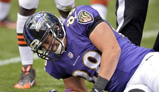 Baltimore Ravens tight end Dennis Pitta reacts after an injury in the second quarter of an NFL football game against the Cleveland Browns, Sunday, Sept. 21, 2014, in Cleveland. (AP Photo/David Richard) **FILE**