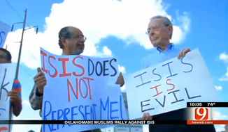 Muslim leaders rallied in Oklahoma City on Friday to denounce the Islamic State group and condemn recent remarks by a Republican state representative who said people should be wary of Muslim Americans. (KWTV)