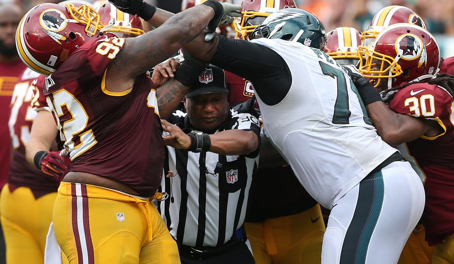 NFL Jerseys Nike - Chris Baker, Jason Peters each fined for their roles in Redskins ...