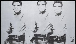 "This undated photo provided by Christie's shows Andy Warhol's ""Triple Elvis (Ferus Type),"" which is going on the auction block at Christie's in New York this November. The Elvis, executed in ink and silver paint in 1963, depicts the rock 'n' roll heartthrob as a cowboy, armed and shooting from the hip. (AP Photo/Christie's)"