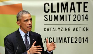 President Barack Obama addresses the Climate Summit 2014 at United Nations headquarters on Sept. 23. (Associated Press) **FILE**