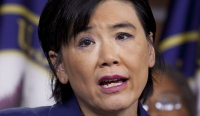Rep. Judy Chu, California Democrat, speaks at a news conference on Capitol Hill in Washington on July 20, 2011. (Associated Press) **FILE**