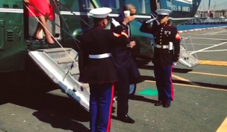 President Obama returned a formal military salute by saluting with a coffee cup he had in his hand as he stepped off his U.S. Marine Corps helicopter in New York on Sunday. (Instagram/White House)