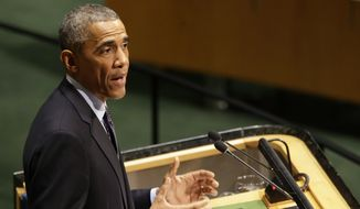 U.S. President Barack Obama addresses the Climate Summit at United Nations headquarters, Tuesday, Sept. 23, 2014. (AP Photo/Seth Wenig) **FILE**
