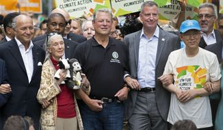 A Sept. 21, 2014, photo during the People's Climate March in New York. From left: French Foreign Minister Laurent Fabius; primatologist Jane Goodall; former Vice President Al Gore; New York Mayor Bill de Blasio, and  U.N. Secretary General Ban Ki-moon. (AP Photo/Craig Ruttle, File)