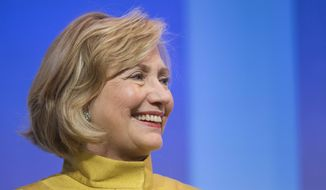 "Hillary Rodham Clinton, former U.S. Secretary of State, speaks in a panel discussion, ""Equality for Girls and Women: 2034 Instead of 2134?"" at the Clinton Global Initiative, Wednesday, Sept. 24, 2014 in New York. (AP Photo/Mark Lennihan)"