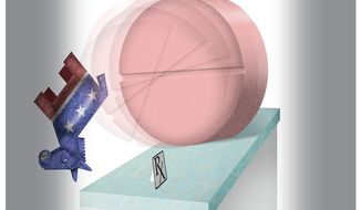 Illustration on Congressional Republican moves to make the Pill available over the counter by Alexander Hunter/The Washington Times
