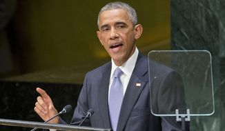 """U.S. President Barack Obama addresses the 69th session of the United Nations General Assembly at the U.N. headquarters, Wednesday, Sept. 24, 2014. Obama told the United Nations amid a U.S.-led bombing campaign against Islamic State militants that he will build a coalition to """"dismantle this network of death."""" (AP Photo/Pablo Martinez Monsivais)"""