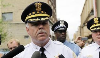Chicago Police Superintendent Garry McCarthy speaks to the media on May 21, 2012 in Chicago. (Associated Press) ** FILE **