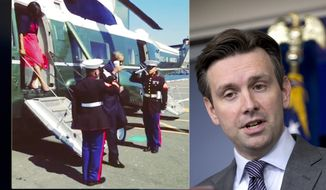 Photo illustration with White House press secretary Josh Earnest and the controversial image of President Obama saluting U.S. Marines with a coffee cup in his hand.