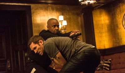 "Denzel Washington (background) stars in ""The Equalizer,"" his always reliable performance on of the more memorable parts of this film, directed by Antoine Fuqua. (Associated Press)"