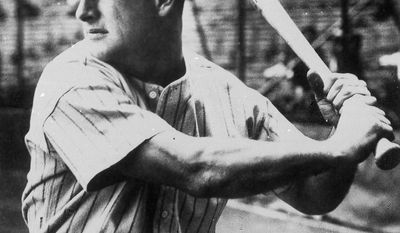 New York Yankees first baseman Lou Gehrig at bat in 1935.   No other caption information available.     (AP Photo)