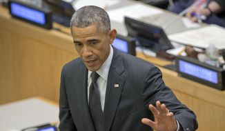 President Barack Obama waves as he departs after speaking about the Ebola epidemic, Thursday, Sept. 25, 2014, at the United Nations General Assembly at the United Nations headquarters. (AP Photo/Pablo Martinez Monsivais)