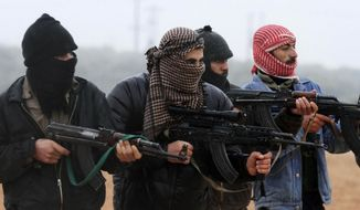 Free Syrian Army members train outside Idlib, Syria, Feb. 7, 2012. (Associated Press) ** FILE **