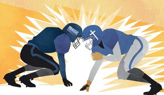 Illustration on the offense/defense relationship of the ACLU and American Christianity by Linas Garsys/The Washington Times
