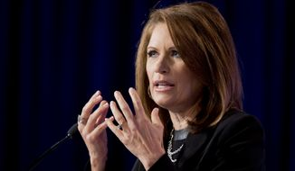 Rep. Michele Bachmann, R-Minn. speaks at the 2014 Values Voter Summit in Washington, Friday, Sept. 26, 2014. Prospective Republican presidential candidates are promoting religious liberty at home and abroad at a gathering of evangelical conservatives, rebuking an unpopular President Barack Obama while skirting divisive social issues that have tripped up the GOP.   (AP Photo/Manuel Balce Ceneta)