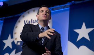 Sen. Ted Cruz, R-Texas, speaks at the 2014 Values Voter Summit in Washington, Friday, Sept. 26, 2014. Prospective Republican presidential candidates are expected to promote religious liberty at home and abroad at a gathering of evangelical conservatives, rebuking an unpopular President Barack Obama while skirting divisive social issues that have tripped up the GOP.  (AP Photo/Manuel Balce Ceneta)