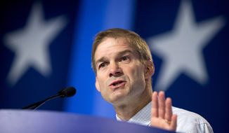 Rep. Jim Jordan, R-Ohio speaks at the 2014 Values Voter Summit in Washington, Friday, Sept. 26, 2014. Prospective Republican presidential candidates are expected to promote religious liberty at home and abroad at a gathering of evangelical conservatives, rebuking an unpopular President Barack Obama while skirting divisive social issues that have tripped up the GOP.    (AP Photo/Manuel Balce Ceneta)