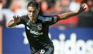 D.C. United's Fabian Espindola in action in the first period against the Philadelphia Union on Saturday, Sept. 27, 2014 at RFK Stadium in Washington, D.C. Luis Silva's goal in the 10th minute was enough to lift United to a 1-0 win over the Philadelphia Union at RFK Stadium. (Pete Marovich for the Washington Times)
