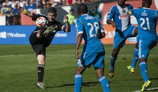 D.C. United's Bobby Boswell in action in the first period against the Philadelphia Union on Saturday at RFK Stadium in Washington, D.C. Luis Silva's goal in the 10th minute was enough to lift United to a 1-0 win over the Philadelphia Union at RFK Stadium. (Pete Marovich for the Washington Times)