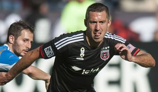 D.C. United's Davy Arnaud in action in the first period against the Philadelphia Union on Saturday, Sept. 27, 2014 at RFK Stadium in Washington, D.C. Luis Silva's goal in the 10th minute was enough to lift United to a 1-0 win over the Philadelphia Union at RFK Stadium. (Pete Marovich for the Washington Times)