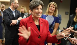 Republican senatorial candidate State Sen. Joni Ernst, makes a statement to the media after her debate with Democratic senatorial candidates Rep. Bruce Braley, at Simpson College Sunday, Sept. 28, 2014, in Indianola, Iowa. (AP Photo/Justin Hayworth)
