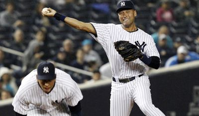 **FILE** New York Yankees third baseman Alex Rodriguez ducks as shortstop Derek Jeter throws to first to put out Tampa Bay Rays' Sean Rodriguez on a sixth inning ground-out during their baseball game at Yankee Stadium in New York, Wednesday, May 9, 2012. (AP Photo/Kathy Willens)