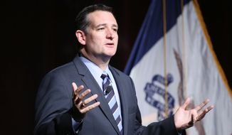 Sen. Ted Cruz, R-Texas, speaks during the Iowa Faith and Freedom Coalition fall fundraiser on Saturday, Sept. 27, 2014, in Des Moines, Iowa. (AP Photo/Justin Hayworth)