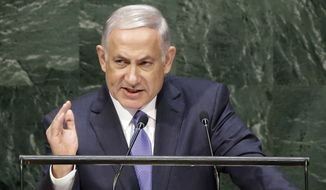 Benjamin Netanyahu, Prime Minister of Israel, speaks during the 69th session of the United Nations General Assembly at U.N. headquarters, Monday, Sept. 29, 2014. (AP Photo/Seth Wenig)