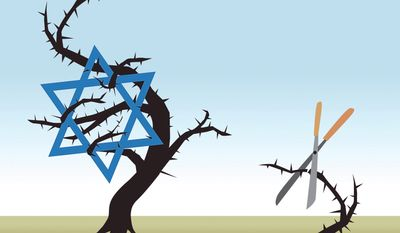 """Illustration on Netanyahu's comment that ISIS and Hamas """"are branches on the same poisonous tree"""" by Linas Garsys/The Washington Times"""