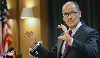 """The question of executive action, my friends, is a 'when' question,"" Labor Secretary Thomas E. Perez assured attendees at the Congressional Hispanic Caucus Institute's convention, asserting that Mr. Obama still shares their values, despite having repeatedly put off thorny decisions on immigration. (Associated Press)"