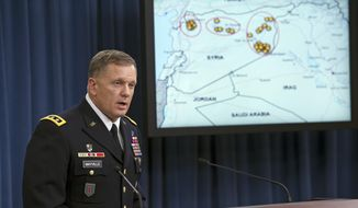 In this Tuesday, Sept. 23, 2014, file photo,  Army Lt. Gen. William Mayville, Jr., Director of Operations J3, speaks about the operations in Syria during a news conference at the Pentagon. According to current and former U.S. officials, the Pentagon is grappling with significant intelligence gaps as it bombs Iraq and Syria, and it is operating under less restrictive targeting rules than those President Barack Obama imposed on the CIA drone campaign in Pakistan and Yemen. (AP Photo/Cliff Owen, File)