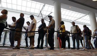 In this Sept. 3, 2014, file photo, people wait in line to sign up for unemployment in Atlantic City, N.J. (AP Photo/Mel Evans, File)