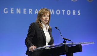 General Motors CEO Mary Barra addresses the Global Business Conference for investors in Milford, Mich., Wednesday, Oct. 1, 2014. Barra says the company has enough parts available to fix all the faulty ignition switches that are blamed for at least 23 deaths nationwide. (AP Photo/Carlos Osorio)